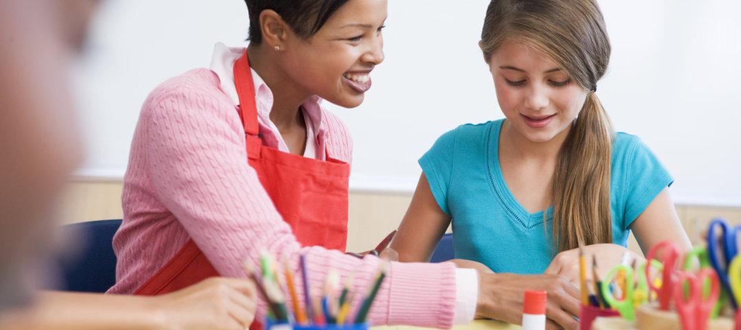school art class with teacher